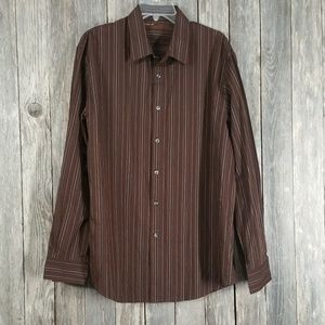 Perry Ellis Brown Striped Long Sleeve Shirt